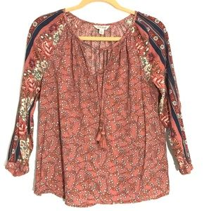 🌿 Lucky Brand Boho Peasant Top